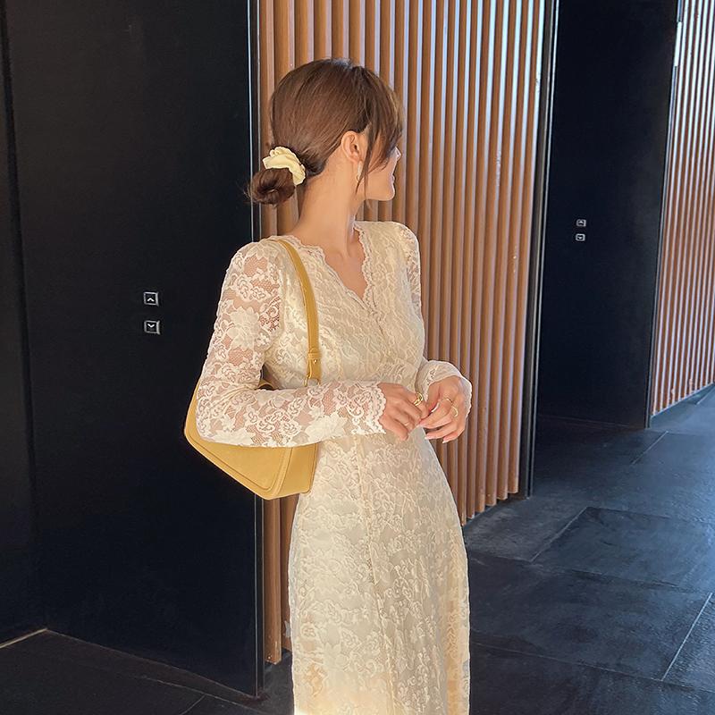 岛歌夫人2021早春新款女装法式蕾丝连衣裙气质修身长裙子收腰显瘦