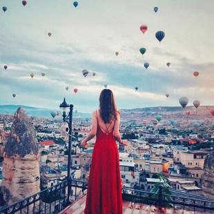2019女夏装新款吊带连衣裙红色性感露背沙滩裙子雪纺海边度假长裙