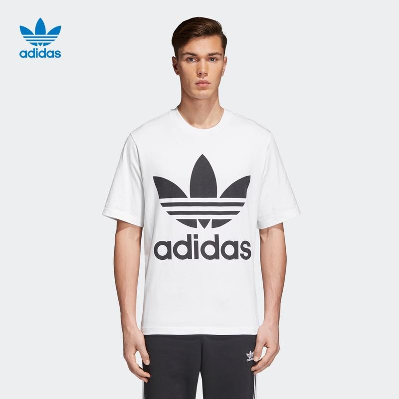 阿迪达斯官网 adidas 三叶草 男装运动圆领短袖T恤CW1212 CW1211