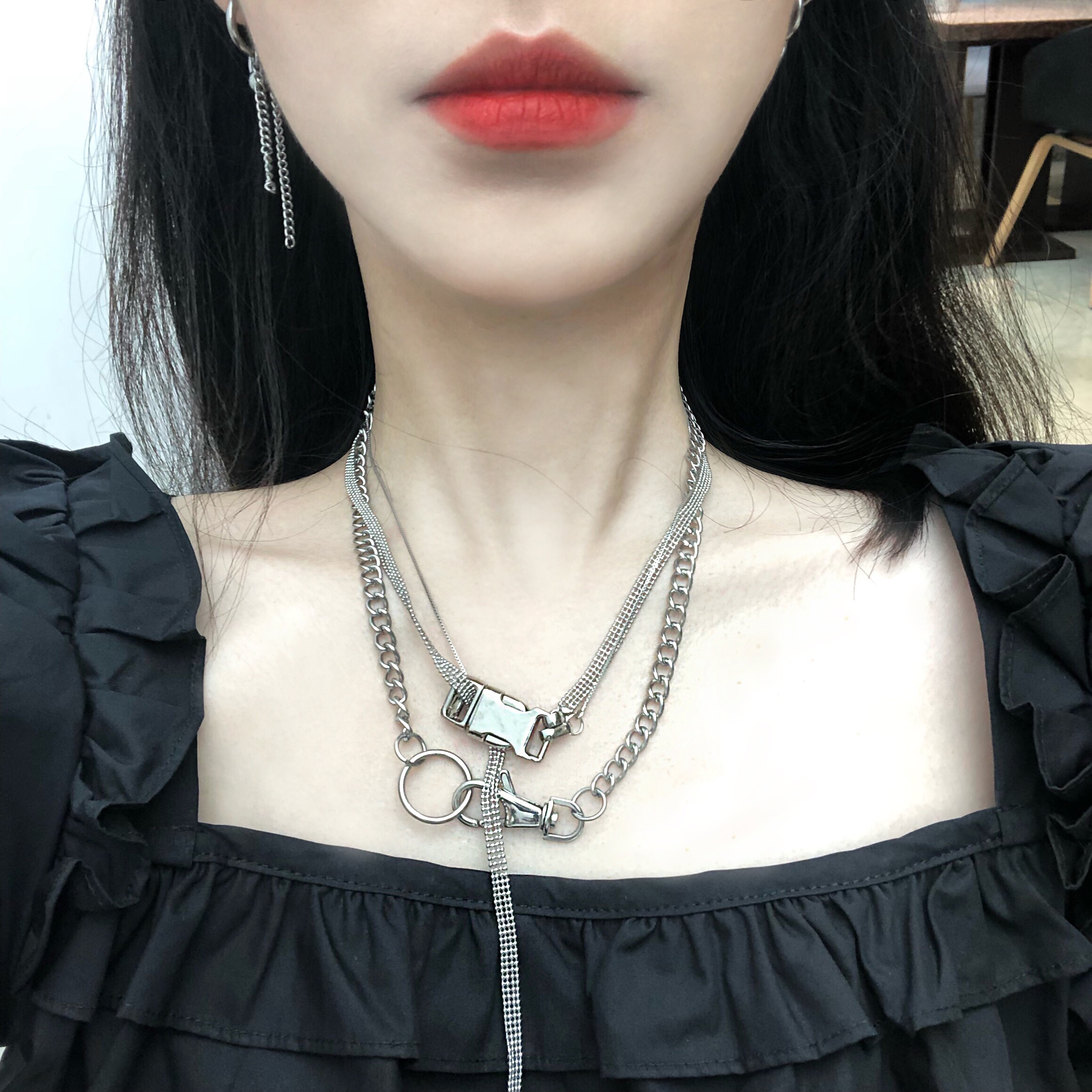 7rings | indifference customized designer personalized lock buckle Necklace ins long lovers neck chain earth cool multi-layer