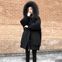 特价清仓白鸭绒黑色羽绒服女2020冬季中长款宽松显瘦大码加厚外套