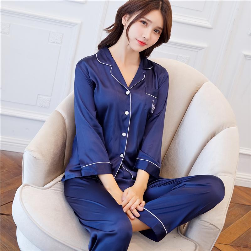 春秋5050丝绸长袖睡衣仿真丝质开衫女士性感薄款纯色大码滑料套装                                             去淘宝购买