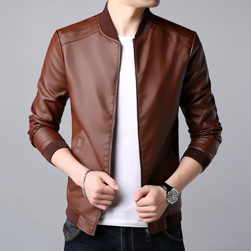 皮衣男外套潮流修身韩版型男薄款秋季新款男士机车皮夹克
