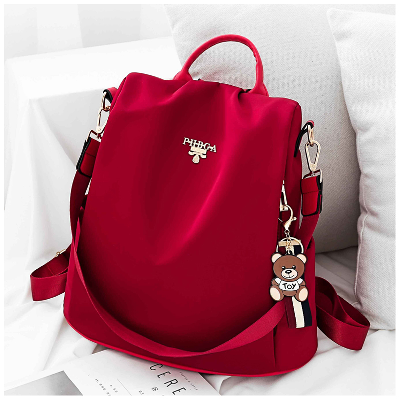 Super fire backpack womens 2020 new versatile fashion anti theft Oxford Canvas Backpack womens net red