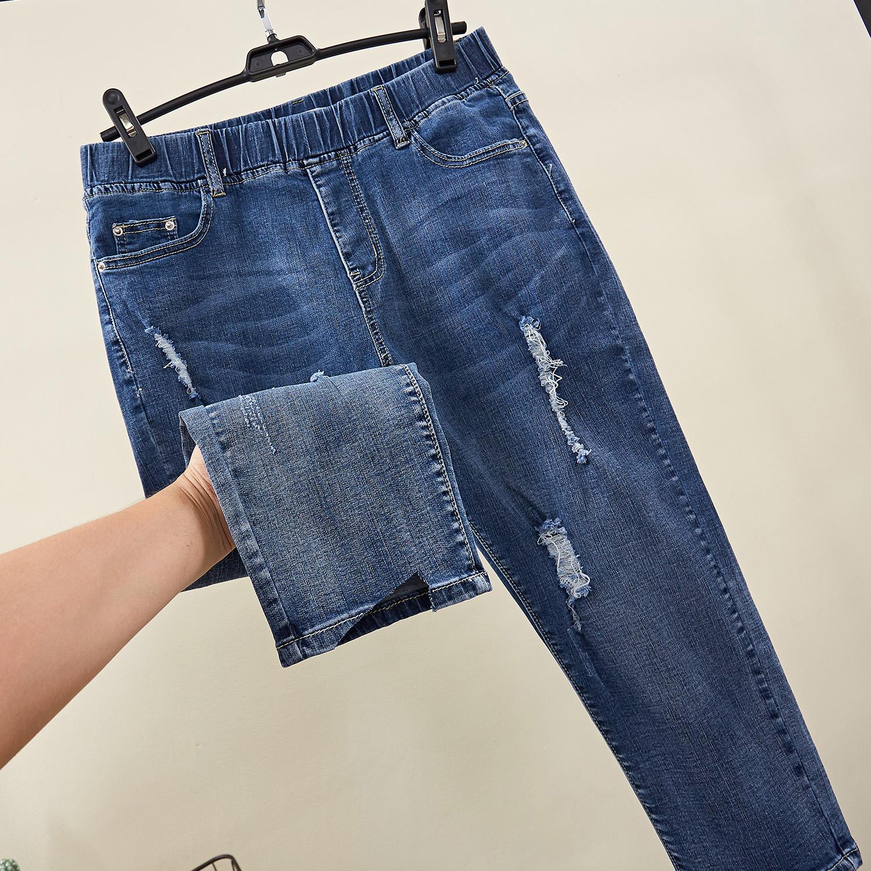 洋气大码女装200斤胖mm新款夏装适合胖人穿的牛仔裤显瘦七分裤子