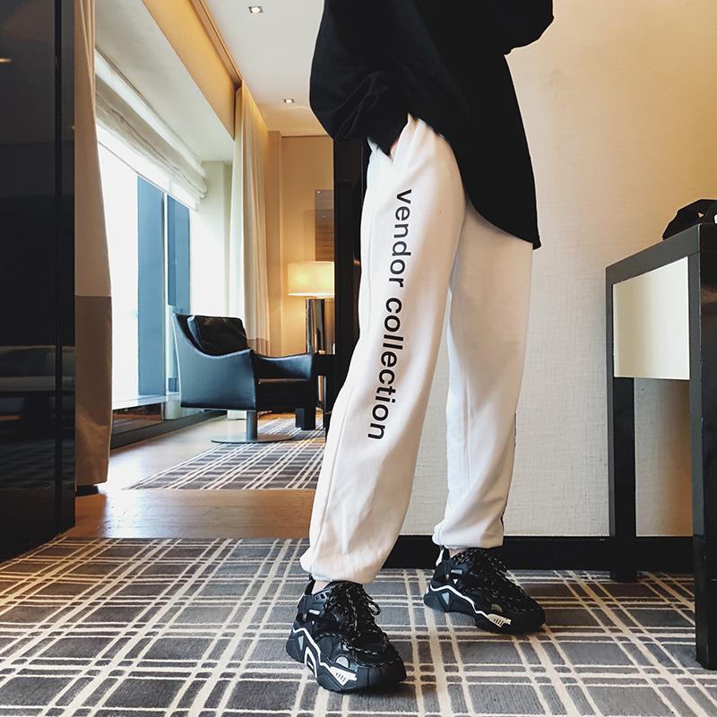 春秋2019新款韩版休闲运动卫裤女宽松束脚直筒显瘦百搭学生ins潮