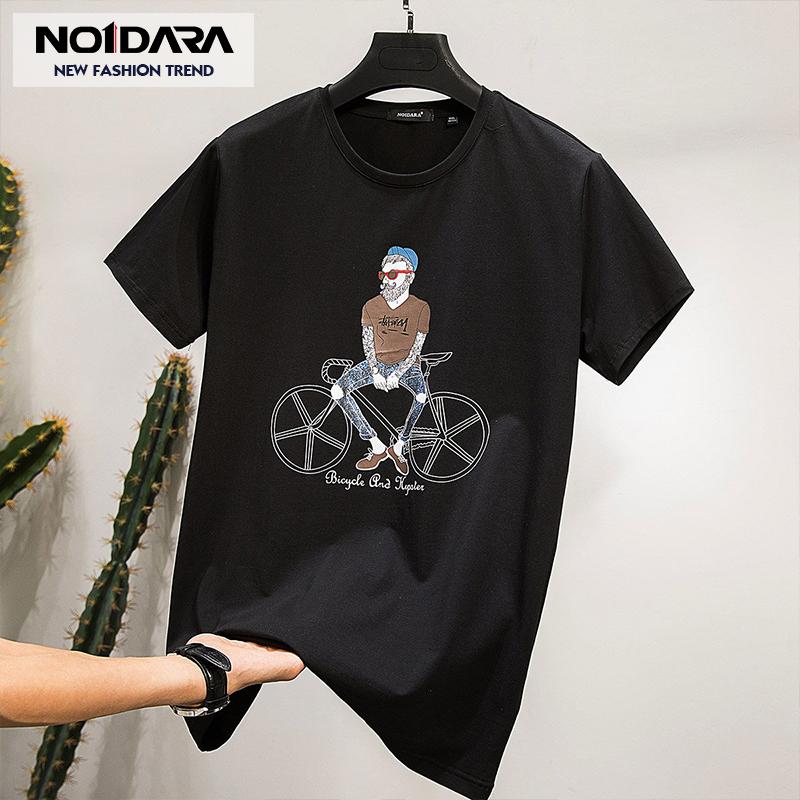 no1dara 夏季boy短袖T恤男圆领自行车印花�B恤韩版黑色男生衣服