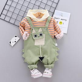 男童秋装套装卡通可爱宝宝背带裤两件套洋气潮童装1一3岁小孩衣服