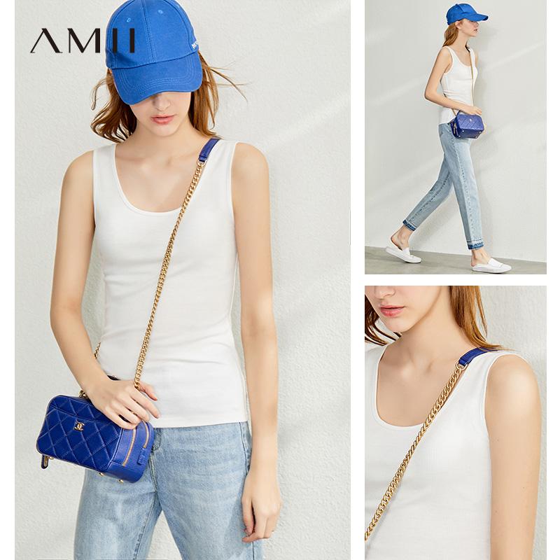 amii法式白色背心春夏季西装打底衫