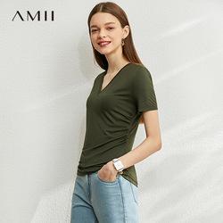 Amii极简V领短袖莫代尔T恤2020夏季新款纯色百搭休闲显瘦上衣女