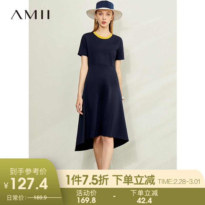 Amii流行气质收腰显瘦女士连衣裙2020夏新款裙子中长款短袖a字裙