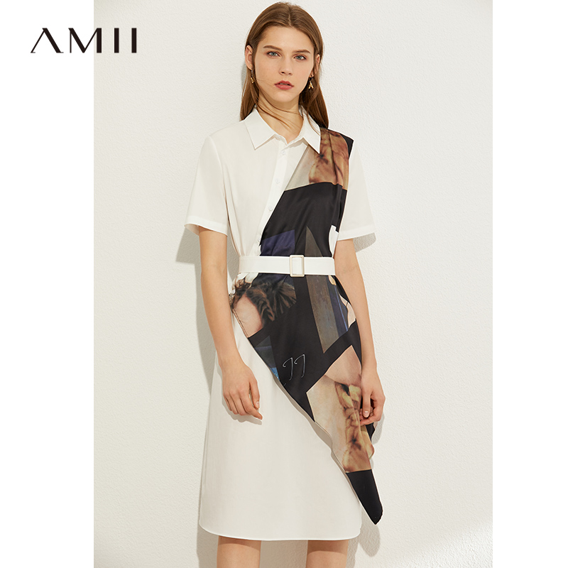 Amii minimalist commuting fashion Lapel print short sleeve dress 2020 summer new with belt shirt skirt