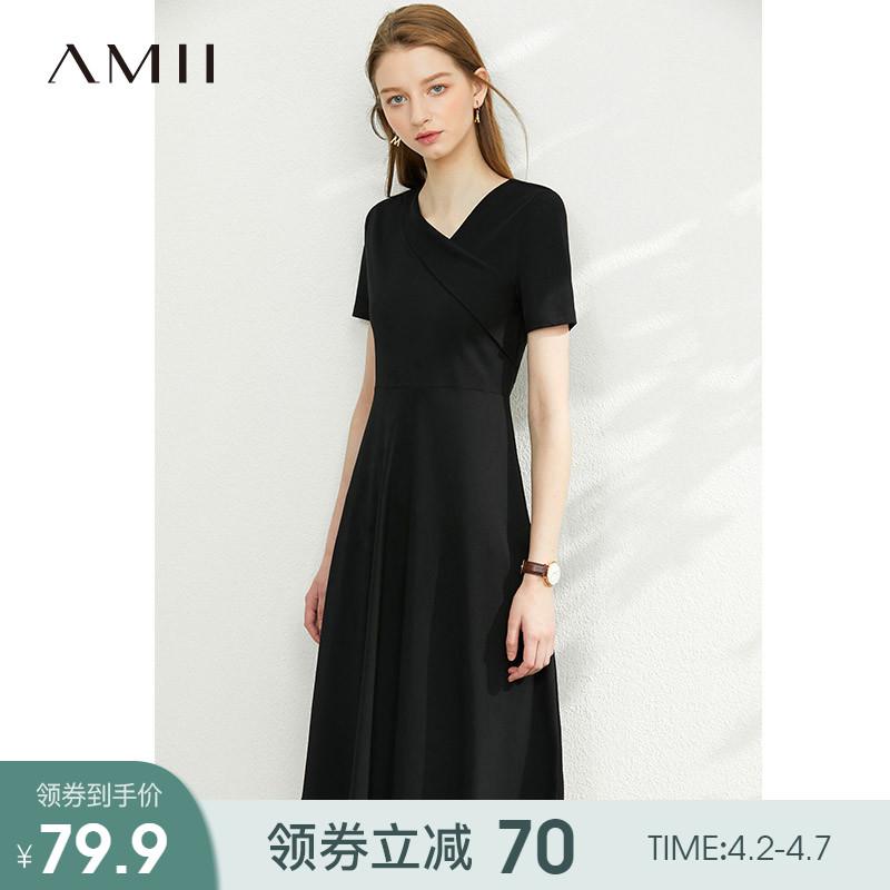 Amii法式赫本气质黑色连衣裙女2020夏季新款V领小心机显瘦a字裙子