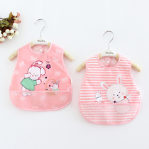 宝宝罩衣夏季婴儿饭兜吃饭衣薄款透气背心式防水围兜衣儿童反穿衣