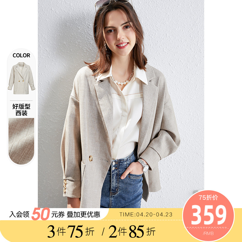 2021 spring and autumn new Korean version of the loose casual British small suit outside women's thin version of red suits