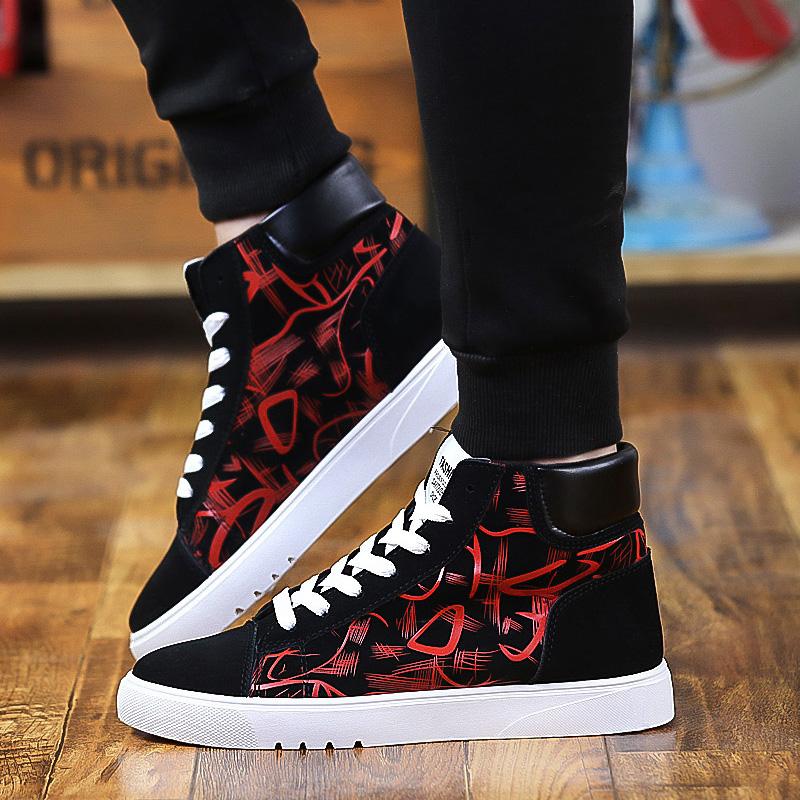 Spring mens high top medium tube pattern flat shoes cheap middle school students high waist Zhongbang sports net red shoes