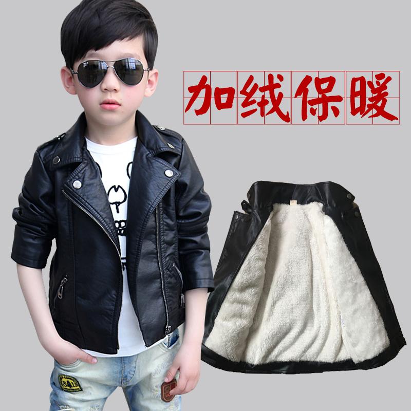 新款童装皮衣男童秋冬季款韩冬天儿童夹克加绒加厚男孩春上衣外套
