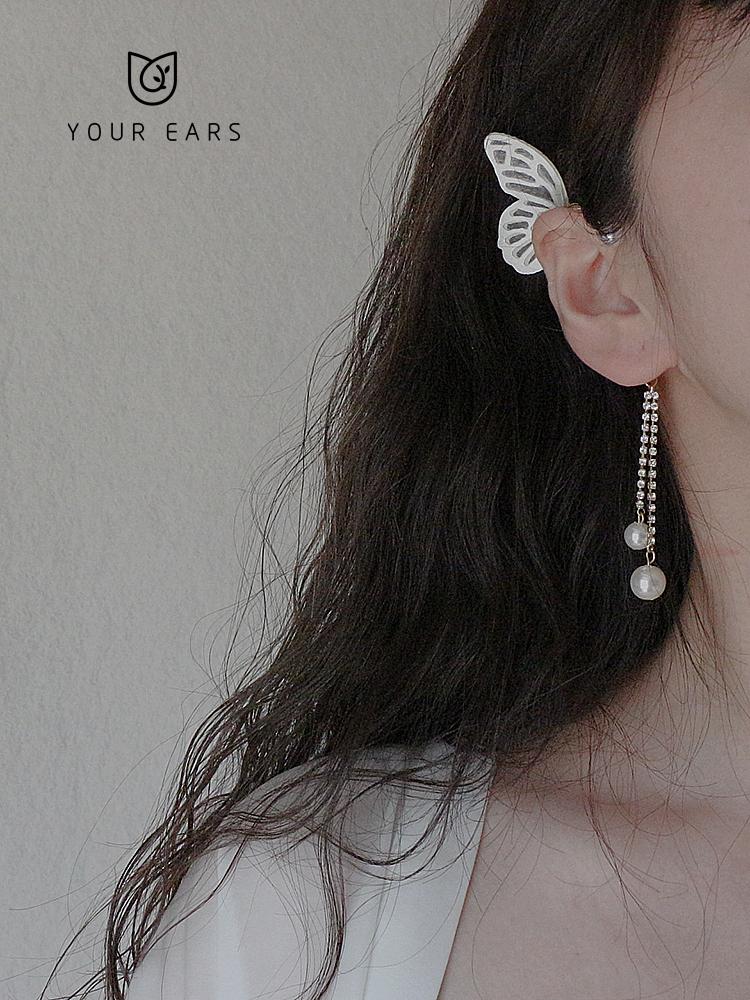 原创设计蝴蝶耳挂无耳洞耳夹长款精灵耳饰女甜美超仙流苏耳饰