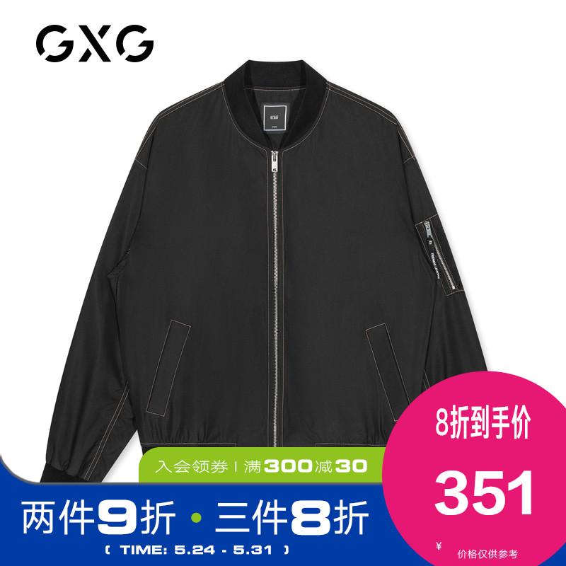 GXG男装 2020冬季新款商场同款潮流黑色棒球领男士夹克外套图片