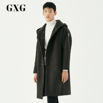GXG mens Winter new loose edition long hooded wool coat jacket cotton coat male #174826174