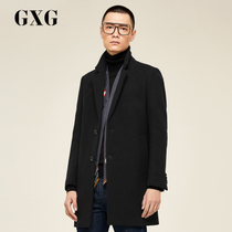 GXG mens clothing 2017 winter mall with the same black long wool woolen coat coat #174126434