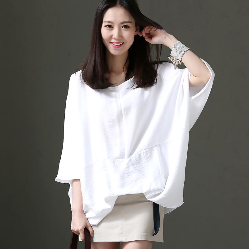 米兰宣言 C1820 文艺大码捏摺七分蝙蝠袖套头纯色薄衬衫女 2018夏