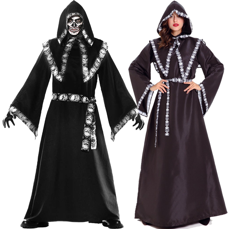 Halloween God of death cos costumes female witches men and women lovers wizard ghost clothes devil costumes Pharaonic hooded adults