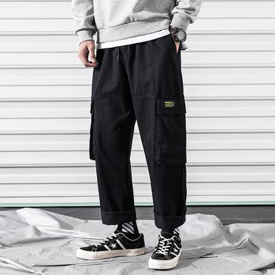 2019春新款内景多袋子日系工装裤休闲裤 黑色 A875-P55 控价85