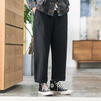 2019秋季内景日系复古直筒宽松男长裤子 黑色 A999-P45(控价69)