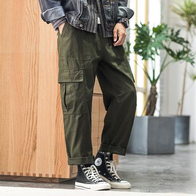 2019秋内景日系修身工装直筒宽松男长裤 绿色 A998-P50(控价78)
