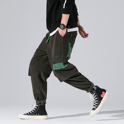 2018秋季内景原创撞色工装裤日系休闲裤 绿色A859-P65(控价95)