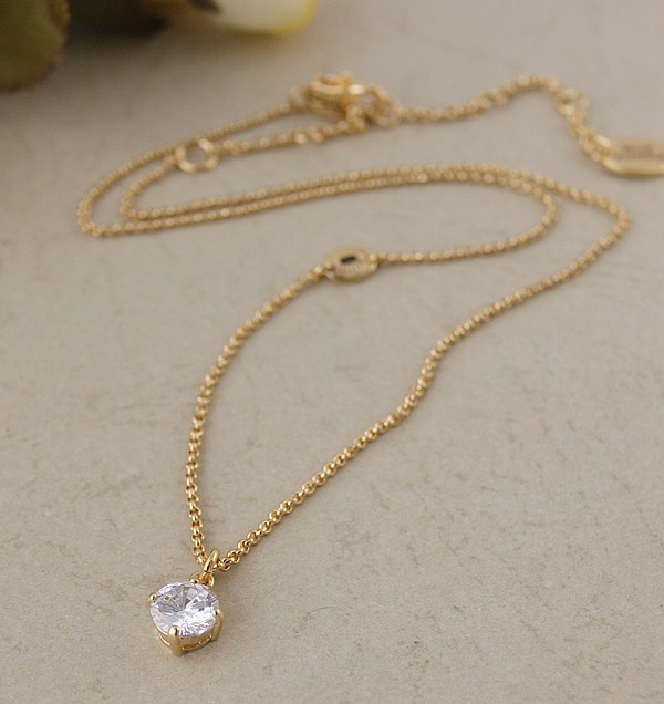 European and American style extremely simple style shining zircon single drop short necklace neck chain chain chain simple versatile female jewelry