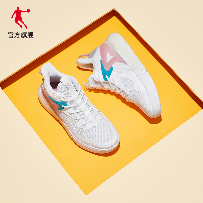 乔丹板鞋2020秋冬新款潮流运动休闲板鞋厚底网面透气中帮小白鞋女图片