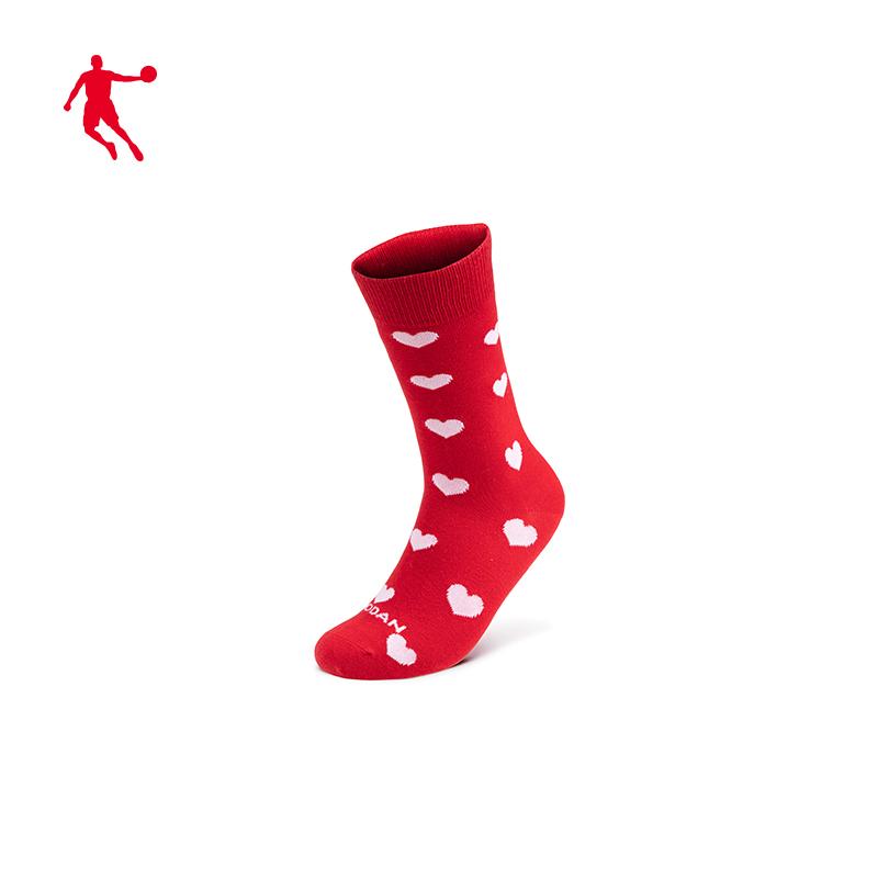 乔丹运动袜女2020春季新款潮流红色长袜中筒袜袜子休闲袜女