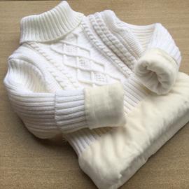 儿童毛衣2020冬男童女童高领针织衫圆领加厚中大童打底衫白色加绒