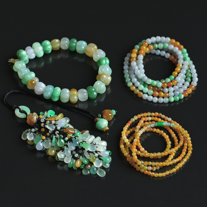 Waxy ice natural yellow green three color jadeite hand string a goods Myanmar jade fulushou pearl chain DIY jewelry