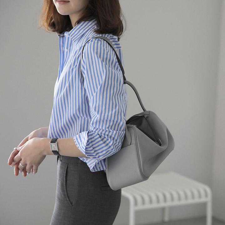 韩国正品代购 女装竖条纹基本款职场职业百搭衬衫G7648