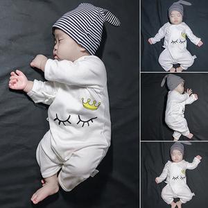 新生儿女婴儿童连体衣服初生宝宝男和尚服睡衣套装春装春秋装公主