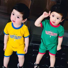 婴童连体衣服男婴儿童装宝宝睡衣球衣薄款夏装网红夏季短袖套装图片