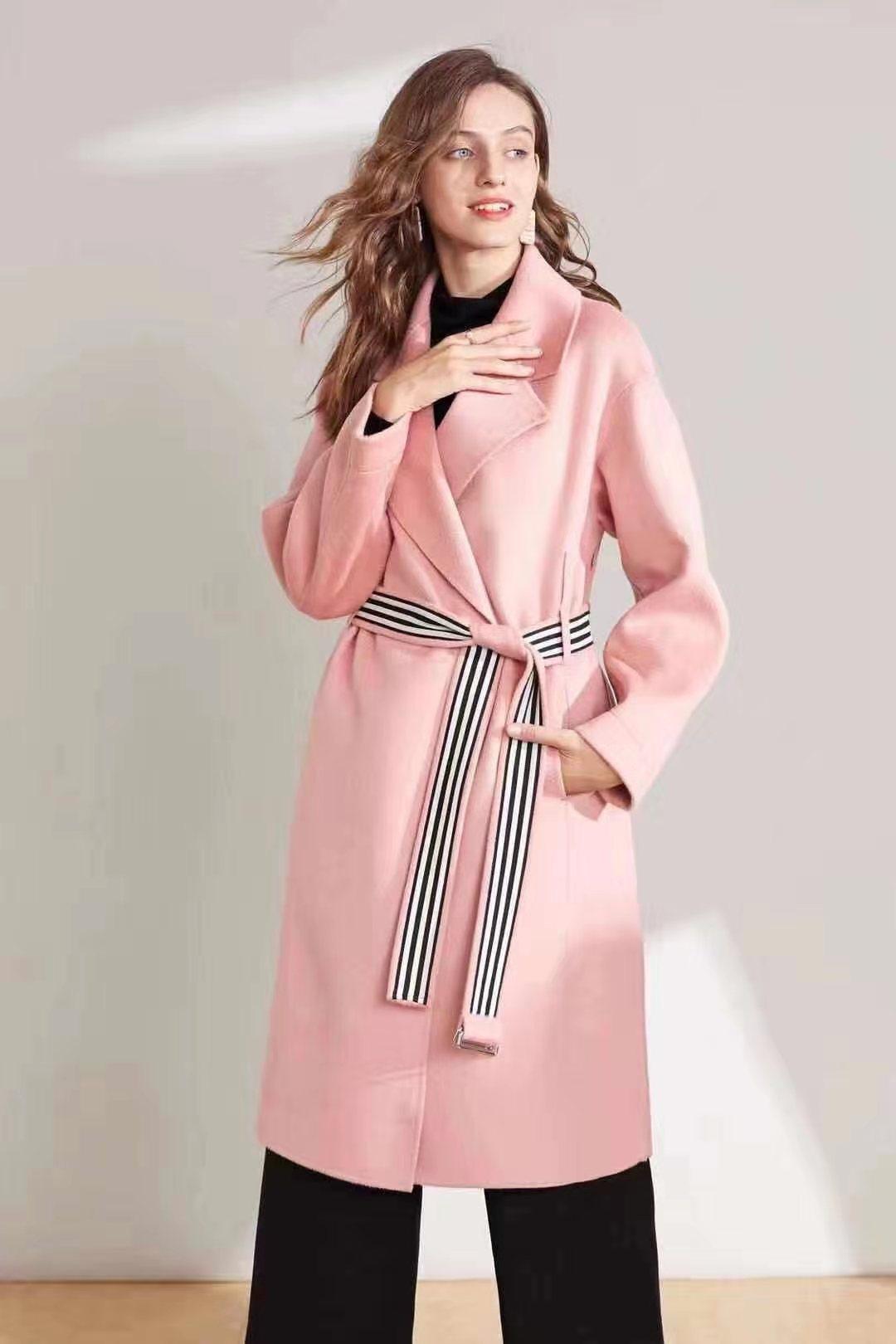 女装2019冬装新款气质简约长款双面呢大衣女过膝腰带款2012