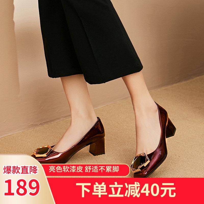 2020新款女鞋春季浅口方头酒红漆皮单鞋女粗跟中跟舒适小皮鞋英伦