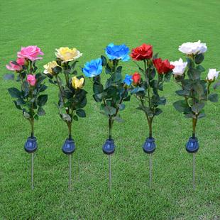 太阳能玫瑰花灯LED花园装饰仿真花灯户外防水庭院草坪灯
