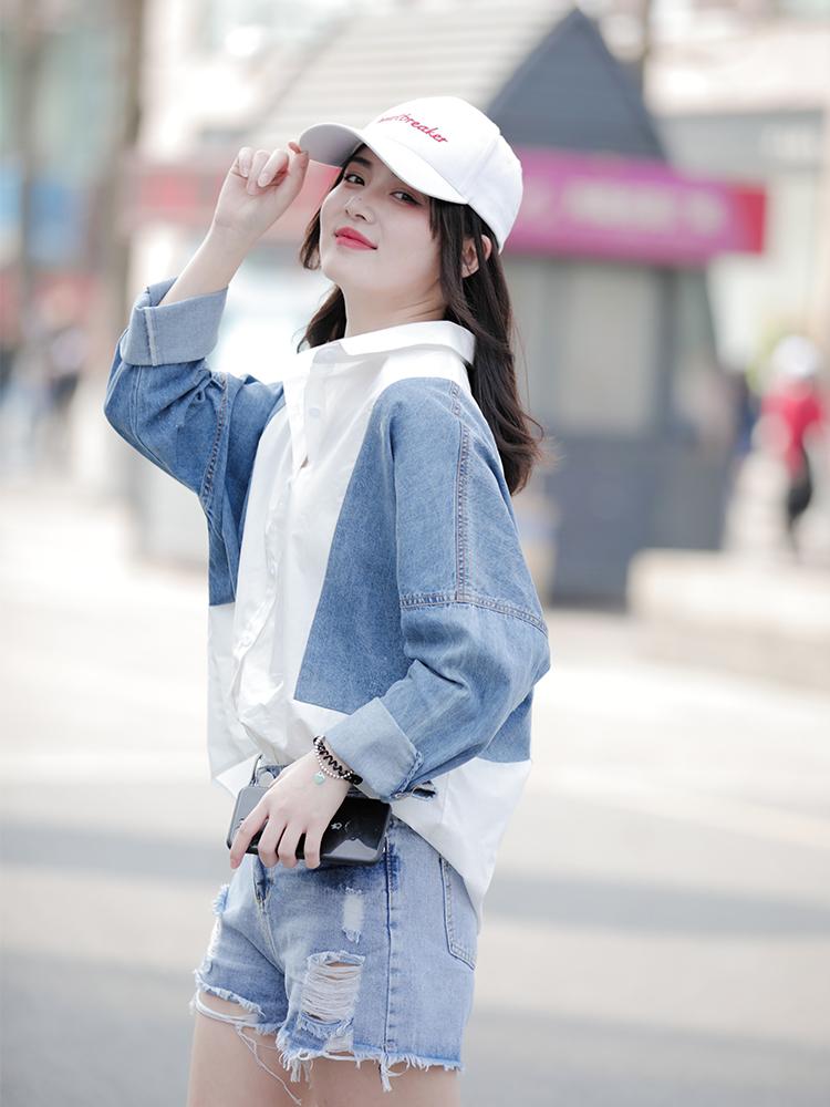 Spring 2020 new stitching shirt womens long sleeve loose medium length small foreign style retro Hong Kong Style coat shirt