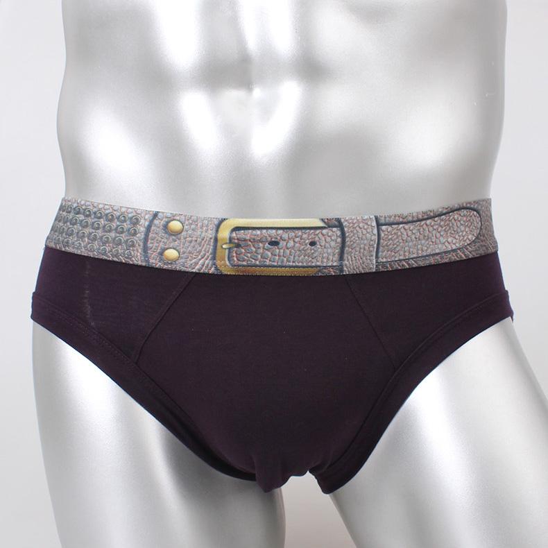 假皮带设计 低腰舒适全棉纯棉内衣 男士打底三角内裤 WM303