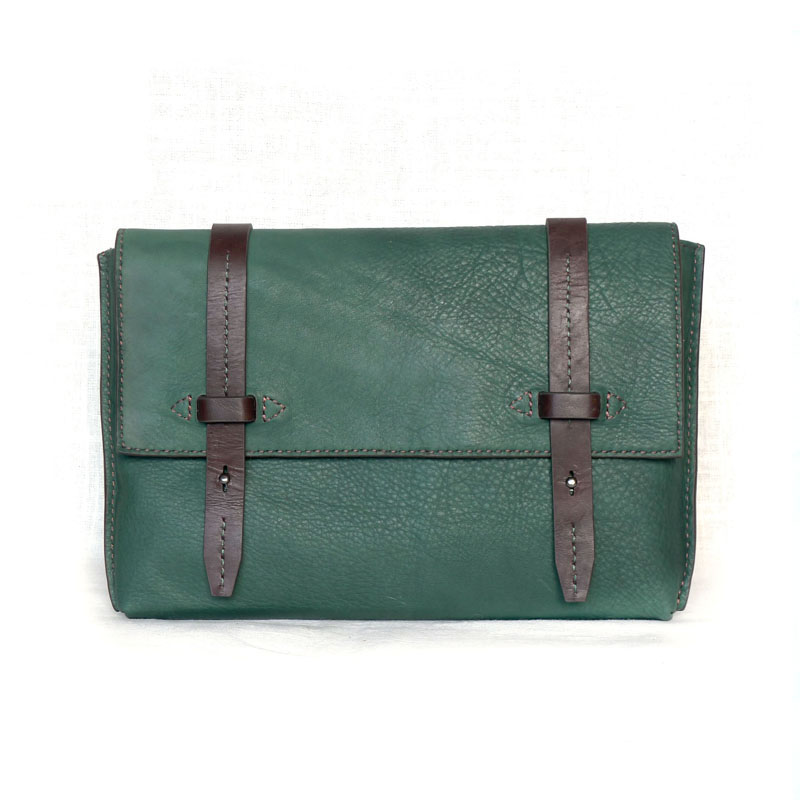 Maotoutou and toutoumao messenger series original handmade postmans mens handbag dark green coffee customization
