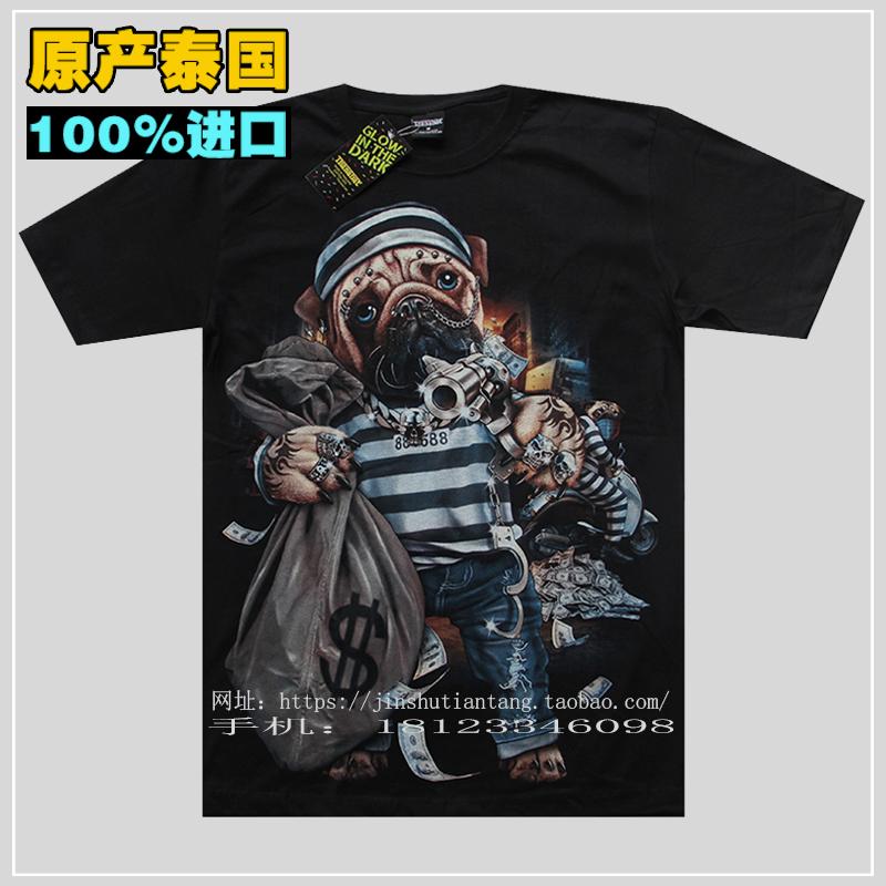 泰国潮牌2019新款男装抢劫强盗狗荧光夜光男士短袖tT恤纯棉体恤衫