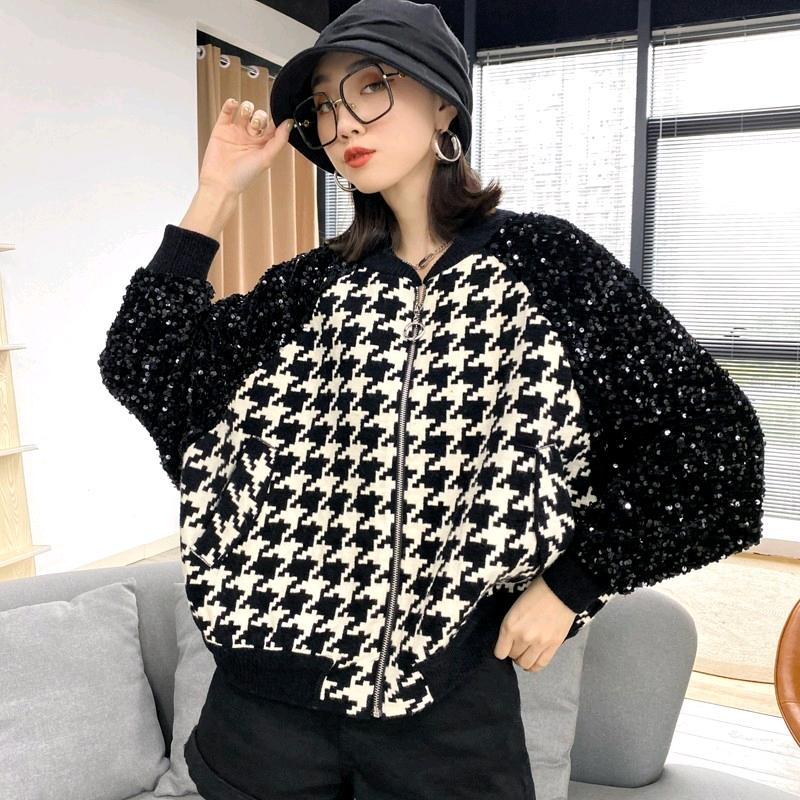 Plaid stitching Black Sequin jacket blouse short baseball collar zipper fashion spring womens jacket fashion