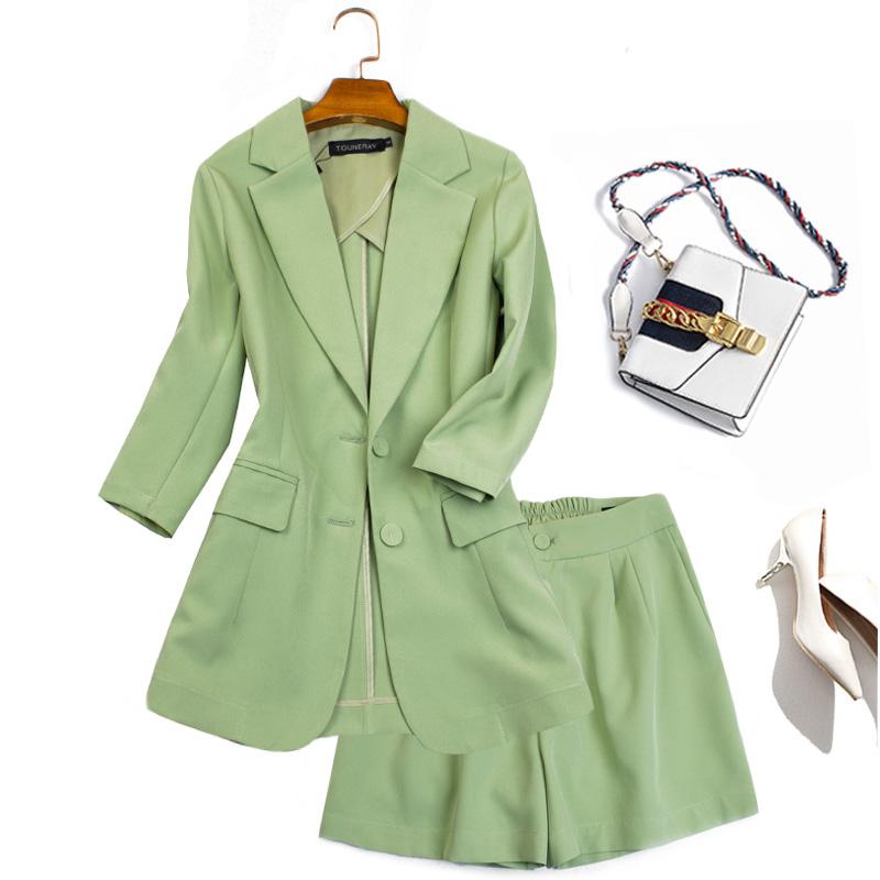 牛油果绿薄款西服洋气套装气质显瘦高腰阔腿短裤小个子两件套345