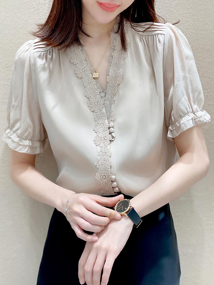 法式别致v领绣花高端重磅夏衬衫
