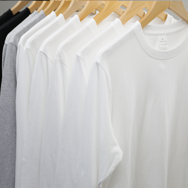 (Buy one get one free) 200g long-sleeved T-shirt pure cotton pure white men's and women's t-shirt pure color bottoming shirt layered on top
